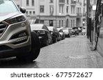 car parked on sidewalk | Shutterstock . vector #677572627