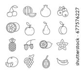 set of fruit related vector... | Shutterstock .eps vector #677576227