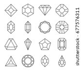 set of gems related vector line ... | Shutterstock .eps vector #677576311