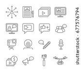 set of blogging related vector...