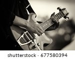 close up of man playing a rock...   Shutterstock . vector #677580394