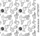 seamless pattern with cocktails ... | Shutterstock . vector #677587597