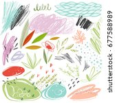 set of scribble vector textures ...   Shutterstock .eps vector #677588989