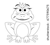 colorless funny cartoon frog.... | Shutterstock .eps vector #677590675
