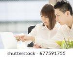 businessmen work by using a...   Shutterstock . vector #677591755