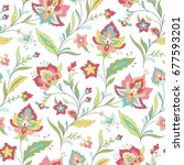 light seamless pattern. boho... | Shutterstock .eps vector #677593201