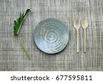 Ceramic Dish Plate  And Wooden...