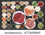 body building health food with... | Shutterstock . vector #677609869