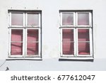 white and pink colored old... | Shutterstock . vector #677612047