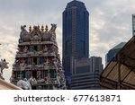 Small photo of Singapore - December 24, 2017: The Sri Mariamman Temple is Singapore's oldest Hindu temple. It is an agamic temple, built in the Dravidian style at the metropolitan town at Singapore.