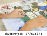 empty hands testing electronic... | Shutterstock . vector #677616871