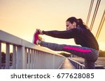 fitness woman doing stretching... | Shutterstock . vector #677628085