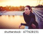 portrait of fitness women... | Shutterstock . vector #677628151