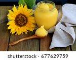 ghee butter    healing and... | Shutterstock . vector #677629759