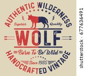 authentic wilderness ... | Shutterstock .eps vector #677636491