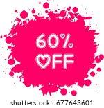 heart shaped 60  off label... | Shutterstock .eps vector #677643601