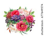 watercolor bouquet with pink... | Shutterstock . vector #677649574