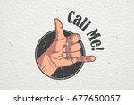 realistic hand gesture   call... | Shutterstock .eps vector #677650057