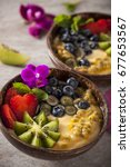 health smoothie with passion... | Shutterstock . vector #677653567