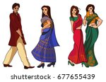 indian fashion set. stock... | Shutterstock . vector #677655439