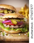 burger with grilled meat and... | Shutterstock . vector #677657377