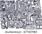 doodle english alphabet   Shutterstock .eps vector #67765984