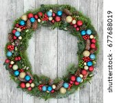 christmas wreath decoration... | Shutterstock . vector #677688019