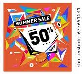 summer sale geometric style web ... | Shutterstock .eps vector #677691541