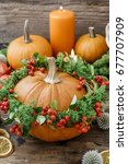 Pumpkin Decorated With Wreath...