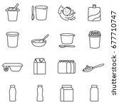 yogurt. different types of... | Shutterstock .eps vector #677710747