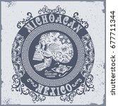 skull flowers mexico typography ...   Shutterstock .eps vector #677711344