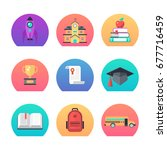 back to school concept set for... | Shutterstock .eps vector #677716459
