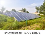 solar photovoltaic panels in... | Shutterstock . vector #677718871