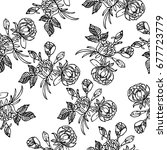 seamless floral hand drawn... | Shutterstock .eps vector #677723779