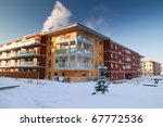 New apartments at winter time - stock photo