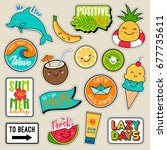 set of fashion patches  cute... | Shutterstock .eps vector #677735611
