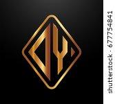 golden monogram logo curved... | Shutterstock .eps vector #677754841