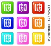 meat shashlik icons of 9 color... | Shutterstock .eps vector #677764255