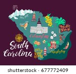 illustrated map of south... | Shutterstock .eps vector #677772409