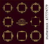 set of eight decorative vintage ... | Shutterstock .eps vector #677774779