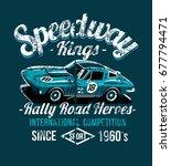 grunge racing car on circuit... | Shutterstock .eps vector #677794471