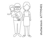 grandparents with kids icon | Shutterstock .eps vector #677795401