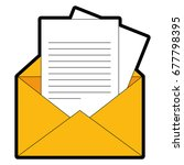 envelope and letter page icon  | Shutterstock .eps vector #677798395
