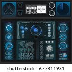 a large package of hud elements ... | Shutterstock .eps vector #677811931