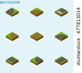 isometric way set of asphalt ... | Shutterstock .eps vector #677813014
