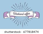 trendy retro ribbon with text... | Shutterstock .eps vector #677818474