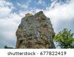 katskhi pillar. georgian... | Shutterstock . vector #677822419