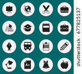set of 16 editable school icons.... | Shutterstock .eps vector #677825137