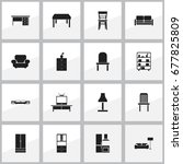 set of 16 editable furnishings... | Shutterstock .eps vector #677825809