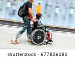 blurred movement disabled on a... | Shutterstock . vector #677826181